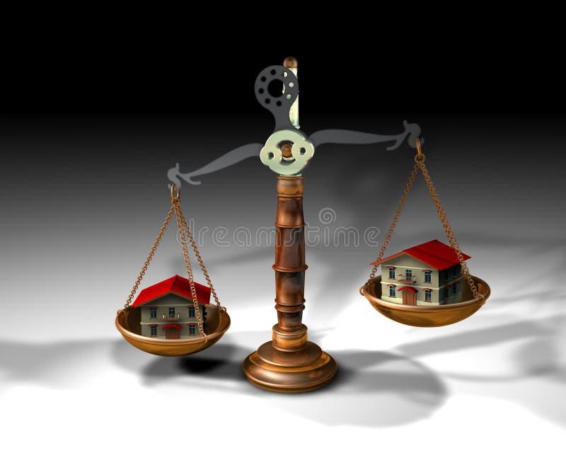 Schwerpunkt und Häuser lizenzfreie abbildung