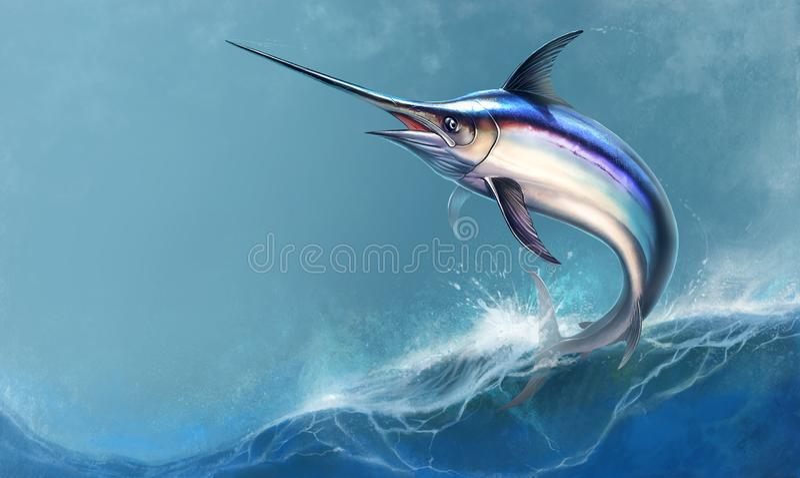 Schwertfische gegen Meereswogehintergrund lizenzfreie abbildung