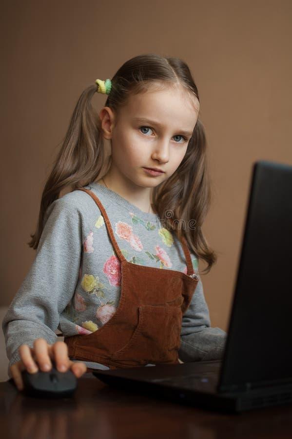 Schwerwiegende kleine Mädchen konzentriert sich vor ihrem schwarzen Laptop, während sie sich während der Quarantäne auf Hausaufga lizenzfreies stockbild