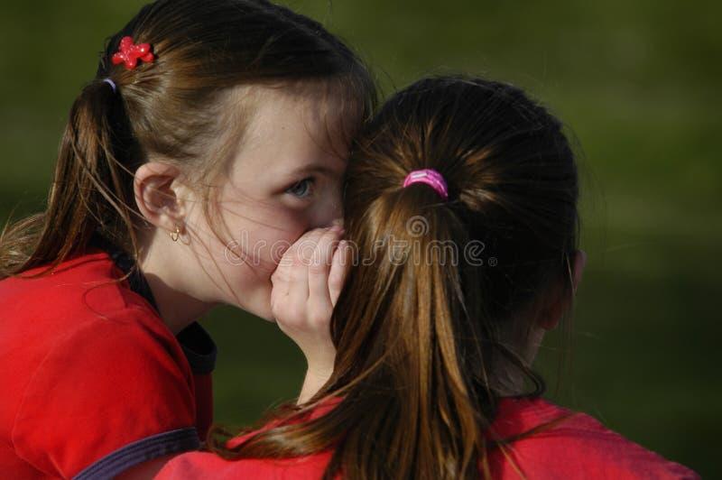 Schwestern, die den Geheimnissen miteinander flüstern in den Ohren sagen lizenzfreies stockfoto