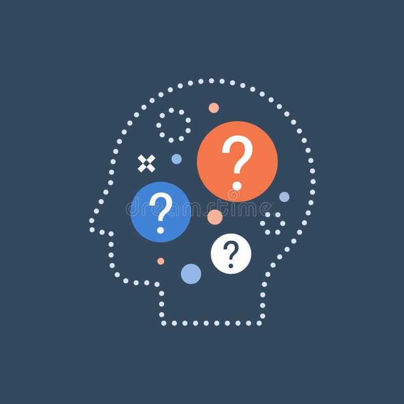 Schwierige Wahl, Beschlussfassung, Verhaltenwissenschaft, fragender Selbst, Neugierkonzept lizenzfreie abbildung