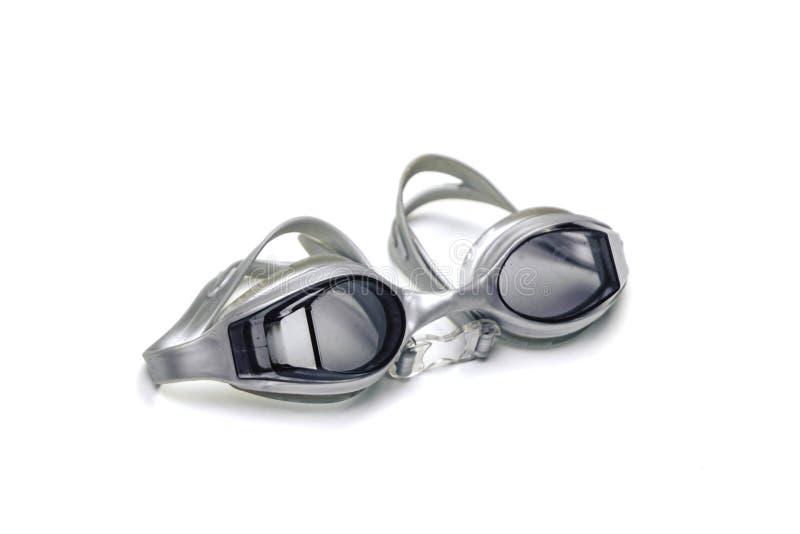 Schwimmbrille mit blauen Brillen auf isoliertem weißem Hintergrund stockfotos
