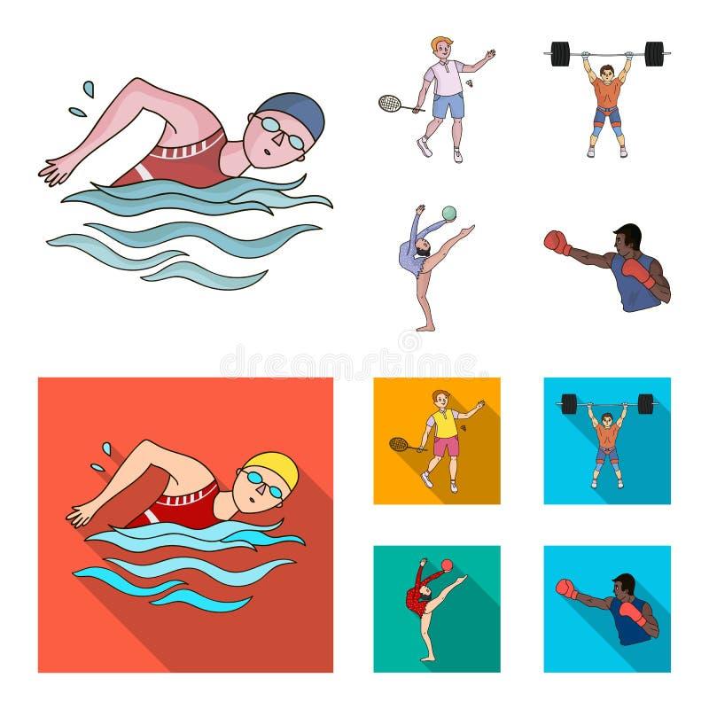 Schwimmen, Badminton, Gewichtheben, künstlerische Gymnastik Gesetzte Sammlungsikonen des olympischen Sports in der Karikatur, fla stock abbildung