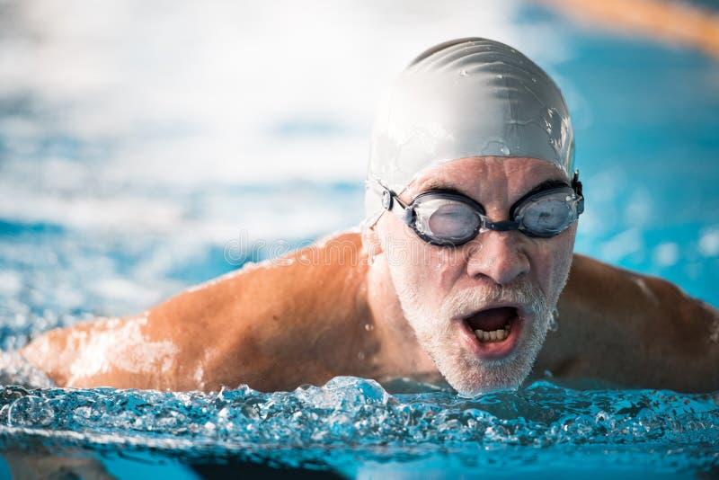 Schwimmen des älteren Mannes in einem Innenswimmingpool stockbild