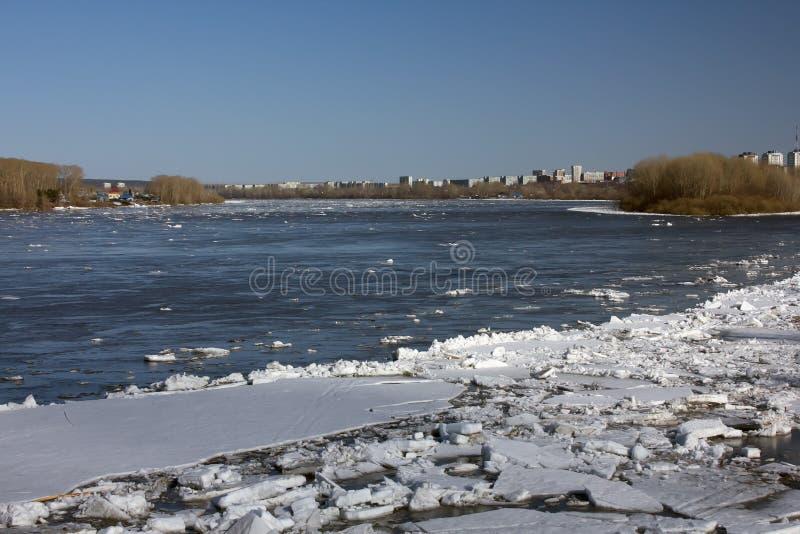 Schwimmen des Eises in Sibirea lizenzfreies stockfoto