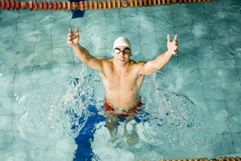 Schwimmen in einem Pool stockfotos
