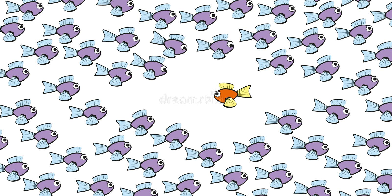 Schwimmen gegen die Gezeiten-Fische komisch vektor abbildung