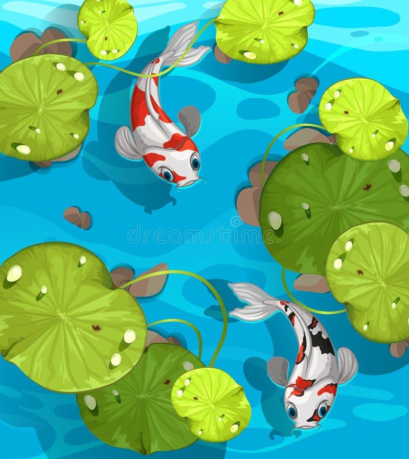 Schwimmen mit zwei Fischen im Teich vektor abbildung