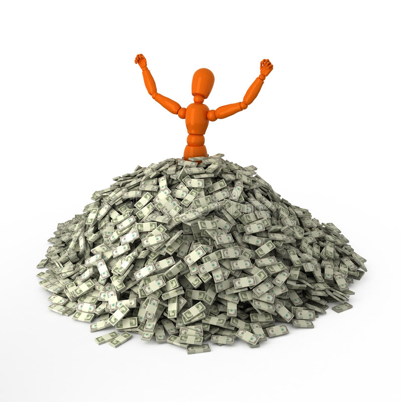 Schwimmen Sie im Geld stock abbildung