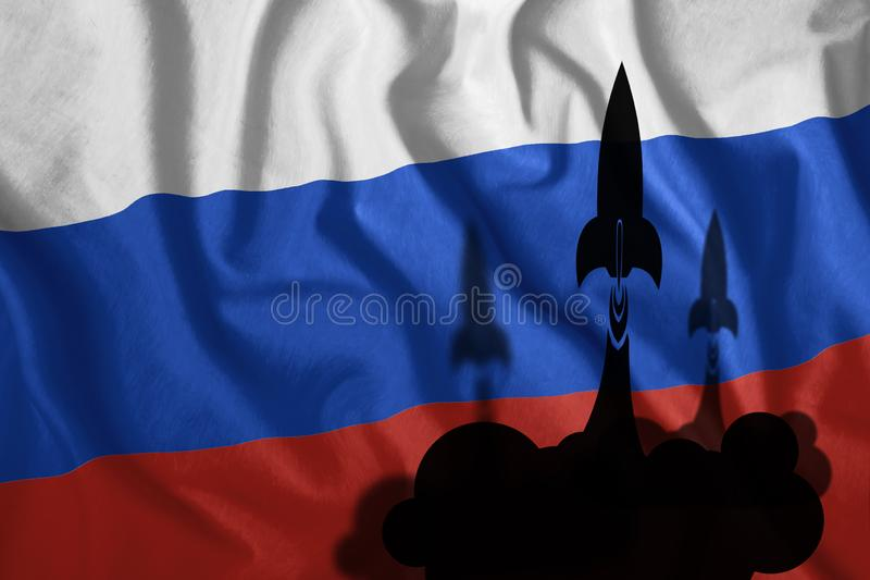 Schwimmende Raketen vor dem Hintergrund der russischen Flagge, die im Wind weht Bunte Nationalflagge Russlands Patriotismus, lizenzfreie abbildung