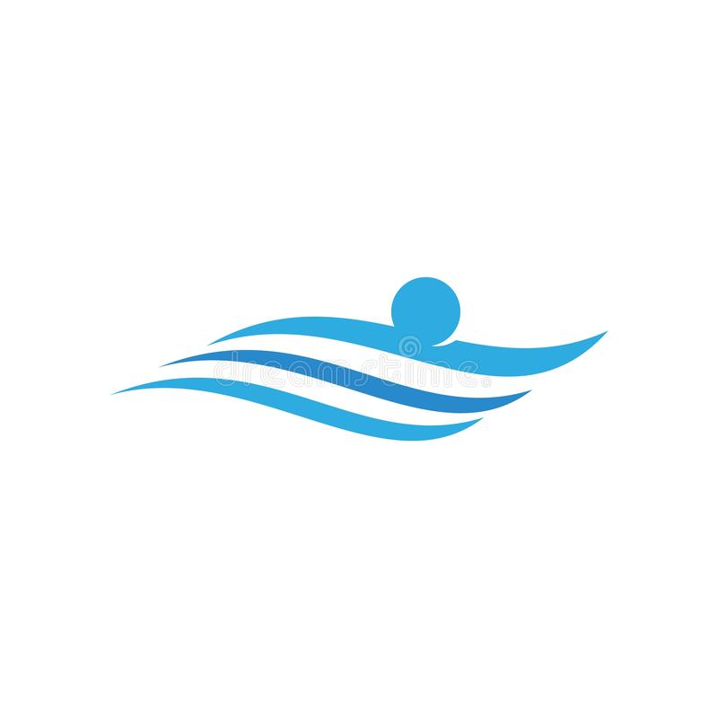 Schwimmendes Sportlogo lizenzfreie abbildung