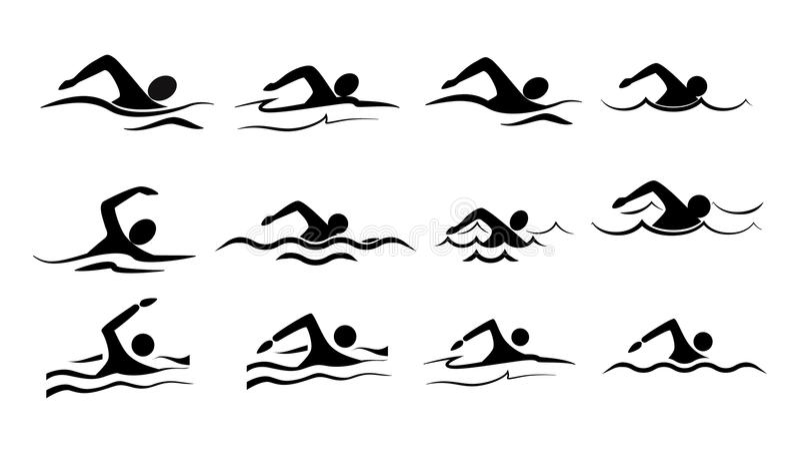 Schwimmenikonensatz vektor abbildung