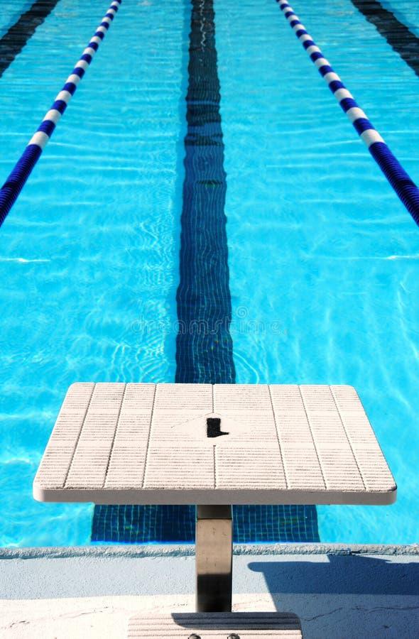Schwimmenweg und Anfangsblock stockfotografie
