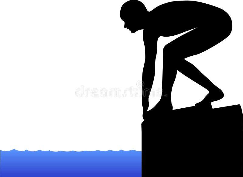 Schwimmer auf beginnendem Block vektor abbildung