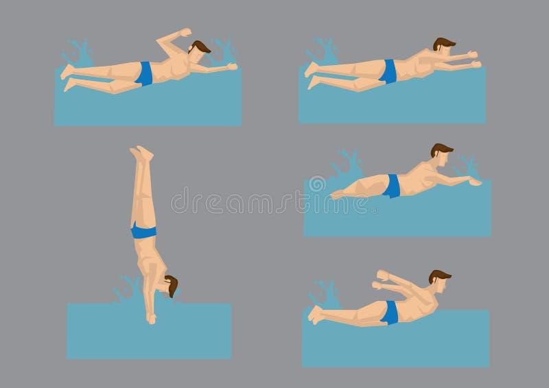 Schwimmer in der unterschiedlichen Schwimmstil-Vektor-Illustration stock abbildung