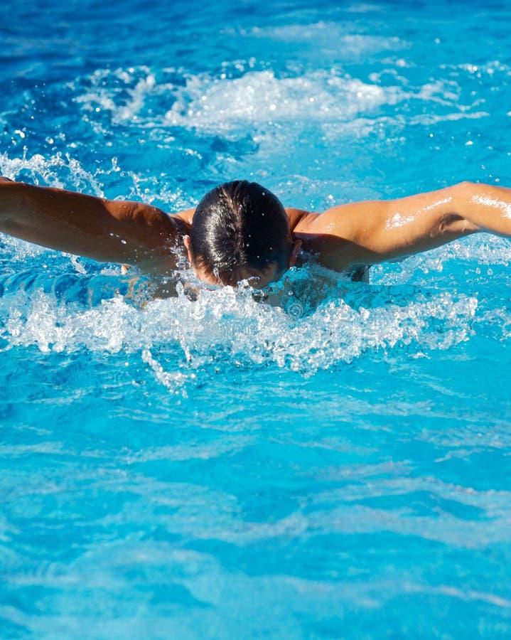 Schwimmer in einem Swimmingpool lizenzfreies stockbild