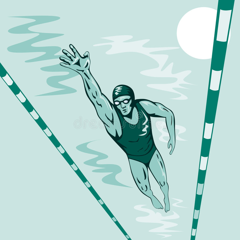Schwimmer geben Art frei lizenzfreie abbildung