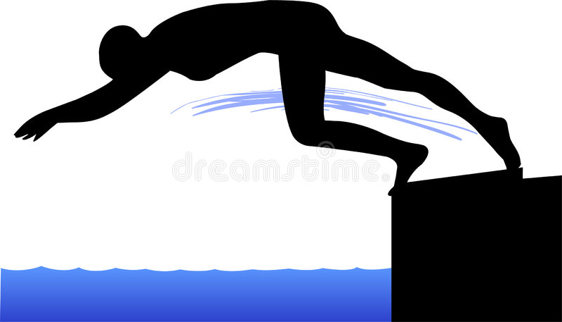 Schwimmer-Tauchen weg von beginnendem Block lizenzfreie abbildung