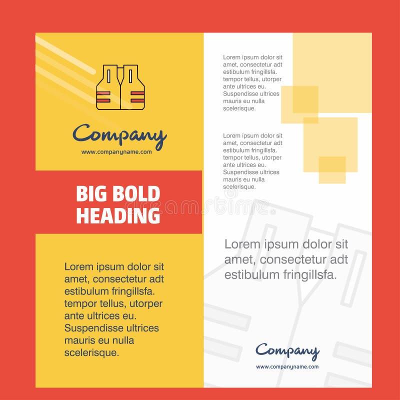 Schwimmweste Firmenbroschüren-Titelblatt-Entwurf Unternehmensprofil, Jahresbericht, Darstellungen, Broschüre Vektor-Hintergrund lizenzfreie abbildung