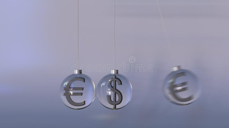 Schwing-Newton-` s Wiege gemacht von den Dollar- und EuroWährungszeichen Deviseninteraktion, internationales Bankgeschäft oder stockbilder
