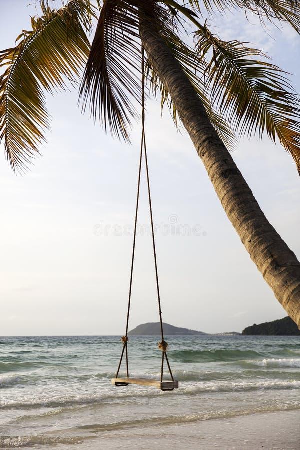 Schwingen auf einem tropischen Strand lizenzfreie stockfotos