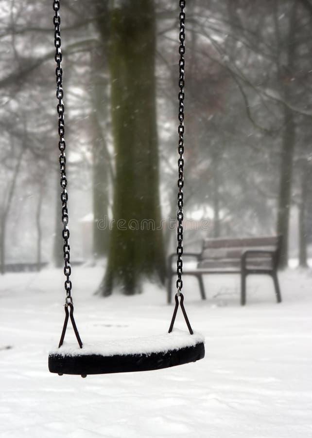Schwingen im Winter lizenzfreie stockbilder
