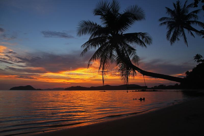 Schwingen- oder Wiegenfall auf schönem Sonnenuntergang des Kokosnussbaum-Schattens an KOH Mak Island-Strand Trad Thailand lizenzfreies stockfoto