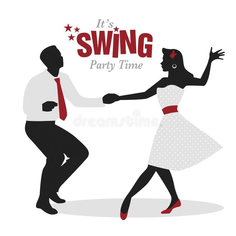 Schwingen-Partei-Zeit: Schattenbilder von den jungen Paaren, welche die Retro- Kleidung tanzt Schwingen oder lindy Hopfen tragen stock abbildung