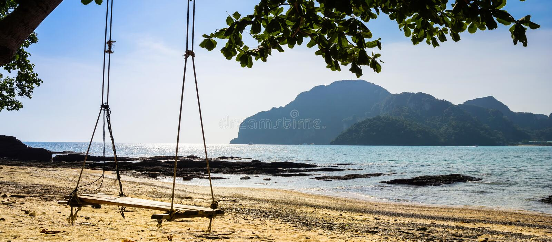 Schwingen Sie Fall vom Baum ?ber Strand, Insel Koh Phi Phi Don, Krabi, S?d-Thailand lizenzfreie stockbilder