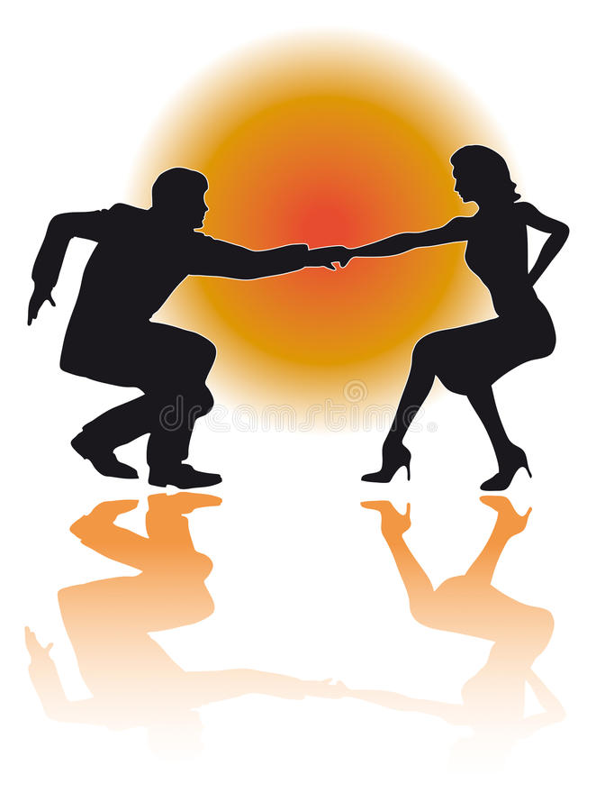 Schwingen-Tanzen-Paar-Vektor stock abbildung