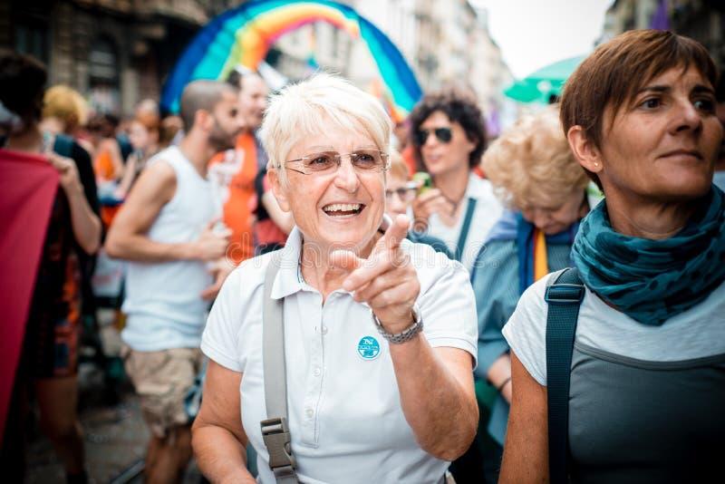 Schwulenparade in Mailand im Juni, 29 2013 lizenzfreies stockfoto