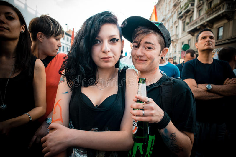 Schwulenparade in Mailand im Juni, 29 2013 stockbild
