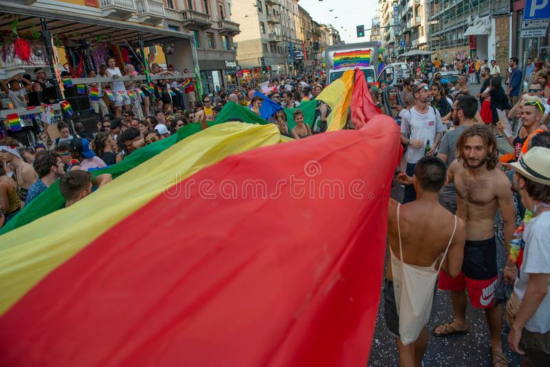 Schwulenparade in Mailand stockfoto