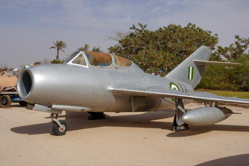 Schwytany Egipt siły powietrzne MiG-15 myśliwiec zdjęcie royalty free
