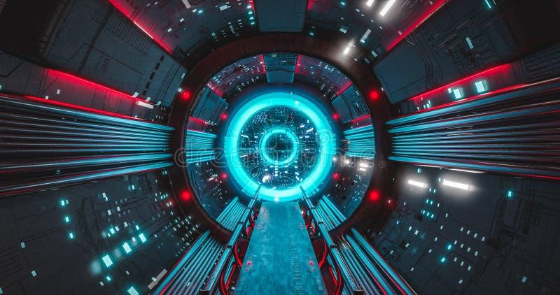 Sci走廊导致一个超级计算机AI未来技术概念的太空飞船内部 库存例证