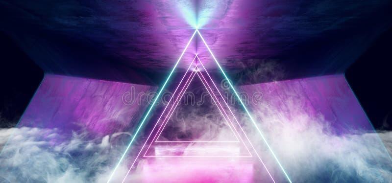 Sci Cyber Rauch-Neondreieck-Lasers glühende Tanz-Verein-Purpur-Rosa-Blaulichter FI futuristische moderne Retro- High-Teche im dun lizenzfreie abbildung