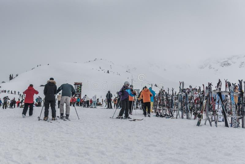 Sci e Snowbaords sullo scaffale alla sommità della montagna di Whistler immagini stock