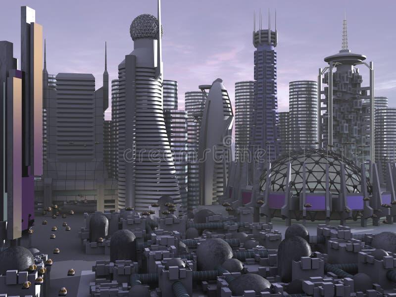 sci för fi för stad 3d model royaltyfri illustrationer