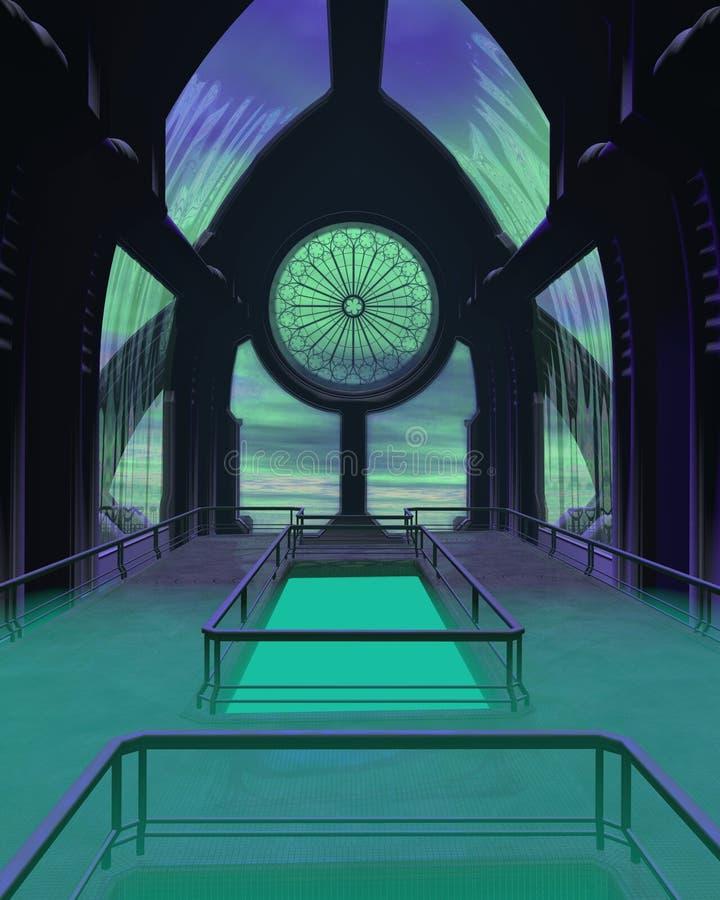 sci fi собора здания футуристическое иллюстрация штока