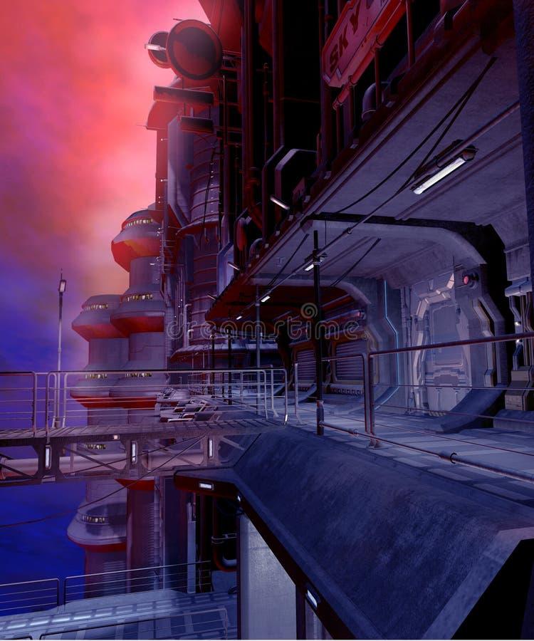 sci fi 2 городов иллюстрация вектора
