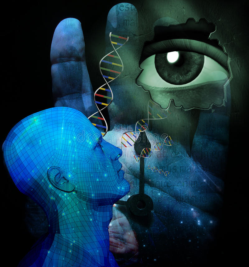 Sci Fi. Human Genetic and other elements stock illustration