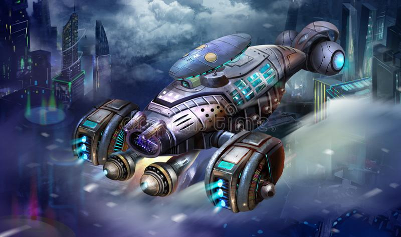 Sci-Fi Aircraft, the Shrimp Spaceship, Science Fiction Spacecraft and City Scene with Fantastic, Realistic and Futuristic Style stock illustration