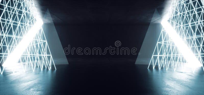 Sci Fi Alien Pyramids Neon Glowing Wire Wire Mesh Blue Ice White Beams Laser Cyber Virtual Reality Spazio Spazio Vuoto Rendering  illustrazione vettoriale