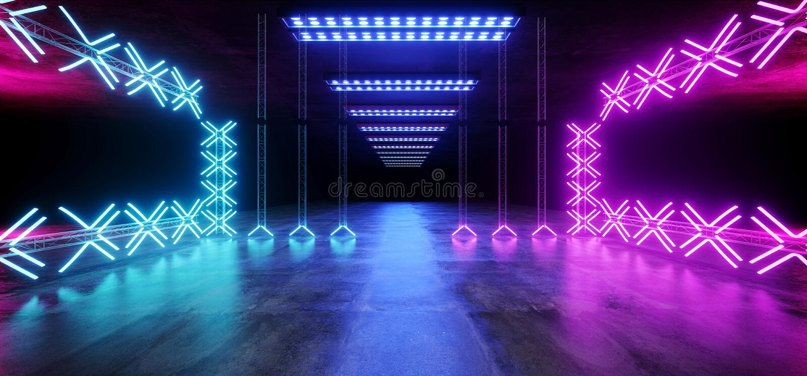 Sci Fi Asphalt Futuristic Dance Stage Empty Metal Construction Structure Tunnel Underground Show Neon Glowing Laser Led Vibrant. Purple Blue Grunge Concrete stock illustration