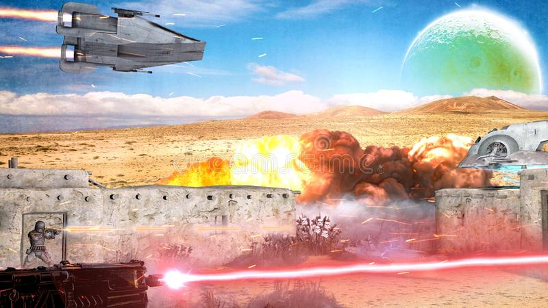 Sci-fi, avlägsen framtid och andra världar Krigsscen, rymdskepp och slagsmål med laservapen vektor illustrationer
