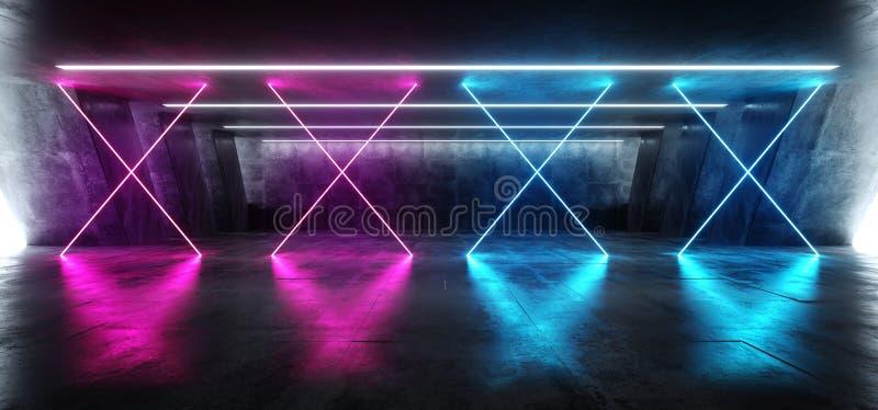 Sci Fi błękita menchii Fluorescencyjny Wibrujący krzyż Kształtujący Neonowi Rozjarzeni Purpurowi światła W Ogromnym zmroku cement ilustracja wektor