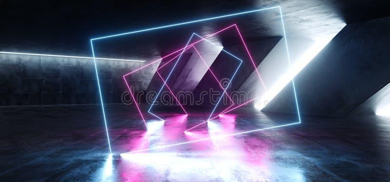 Sci Fi błękita menchii Fluorescencyjny Wibrujący prostokąt Kształtujący Neonowi Rozjarzeni Purpurowi światła W Ogromnym zmroku ce ilustracji
