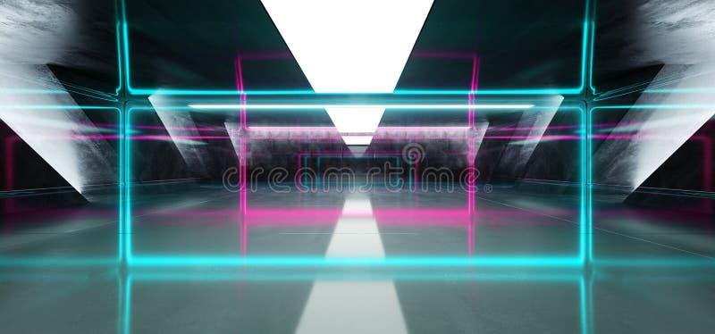 Sci Fi b??kita menchii Fluorescencyjny Wibruj?cy prostok?t Kszta?tuj?cy Neonowi Rozjarzeni Purpurowi ?wiat?a W Ogromnym zmroku ce royalty ilustracja