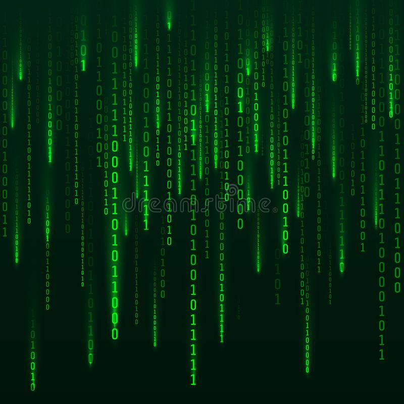 Sci-fi Background. Binary computer code. Green digital numbers. Matrix of binary numbers. Futuristic hacker abstraction backdrop. royalty free illustration