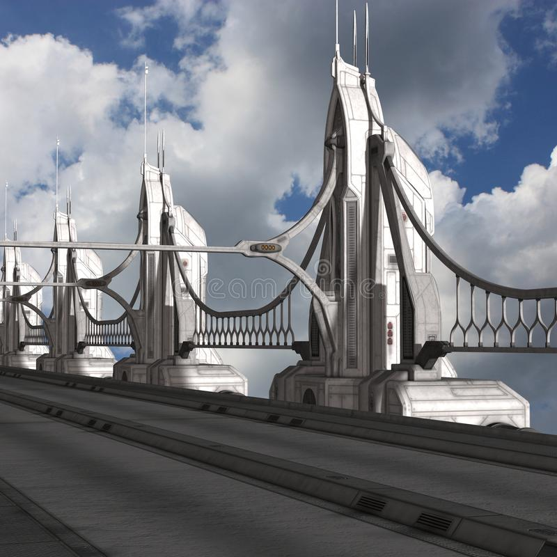 Sci-Fi Background with a bridge vector illustration